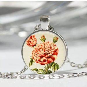 Vintage Rose Glass Necklace